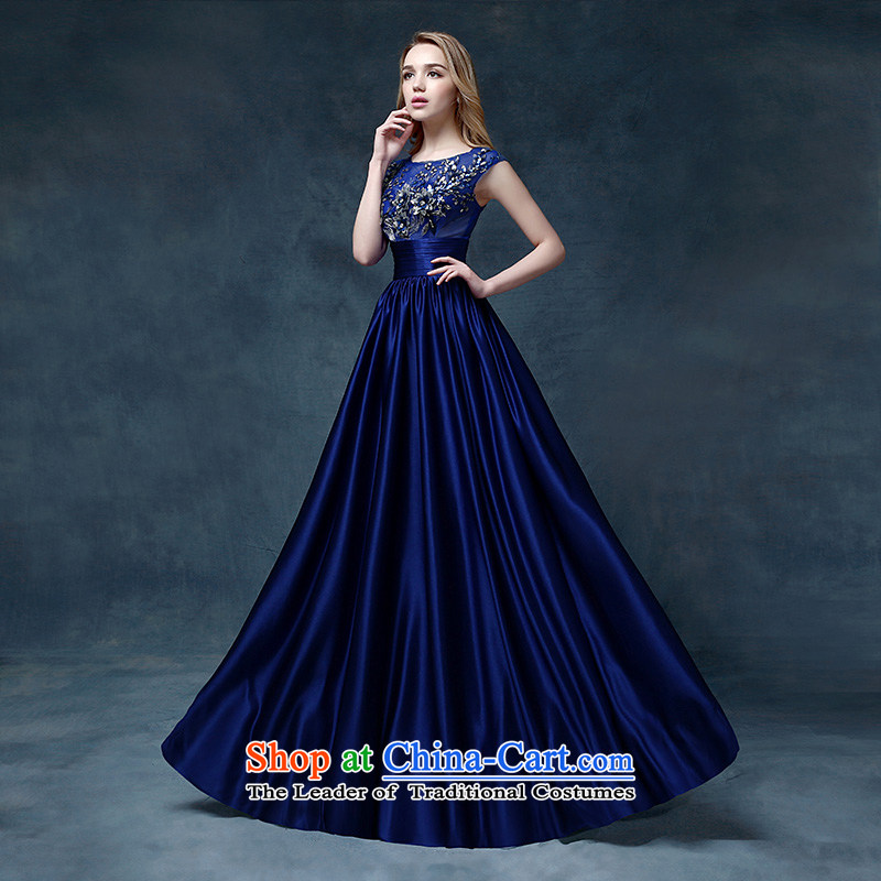 According to Lin Sha evening dresses 2015 new wedding dress shoulders bows service bridal dresses crowsfoot Sau San bows dress long blue?L