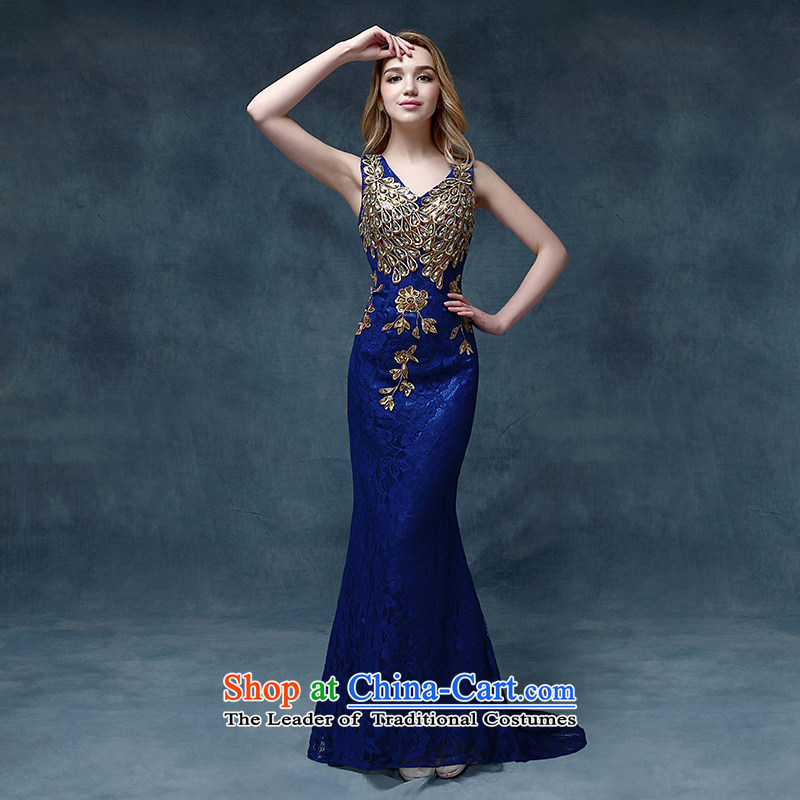 According to Lin Sha evening dresses 2015 new wedding dress shoulders bows service bridal dresses crowsfoot Sau San tail bows services blue S