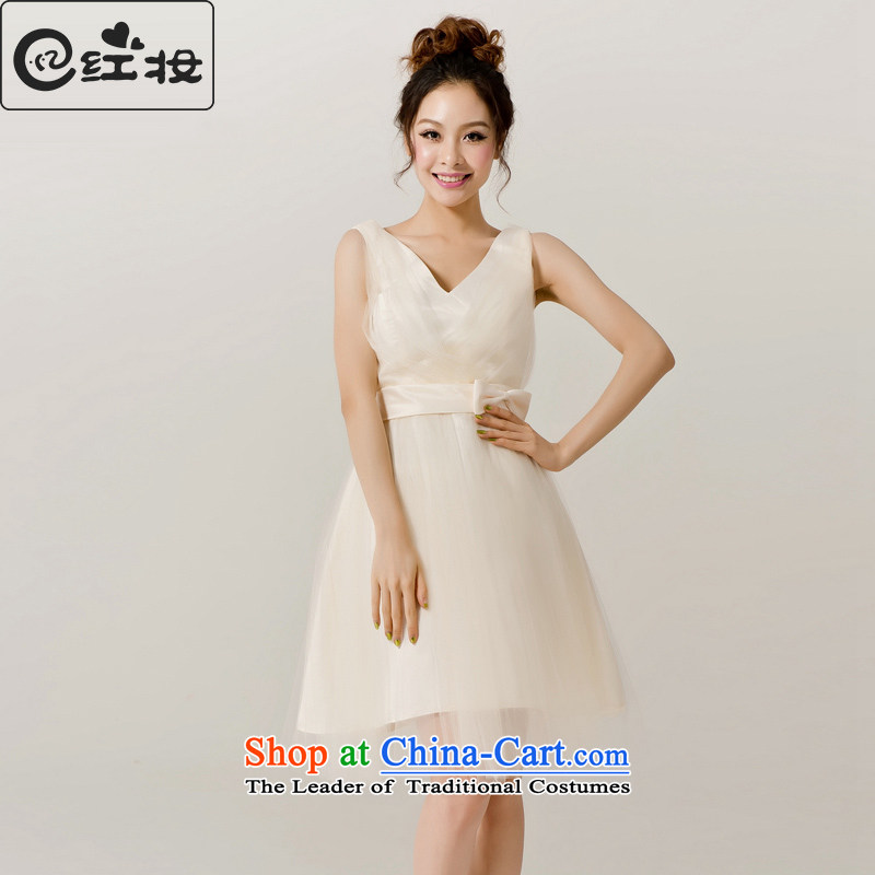 Recalling that the Red Spring Dress Short of Colombia shoulders small dress Korean Sisters mission bridesmaid skirt annual meeting of persons chairing the evening dresses L12058 champagne color�M