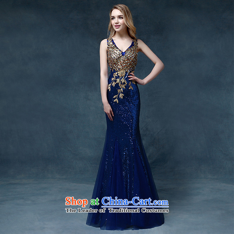 According to Lin Sha evening dresses 2015 new wedding dress shoulders bows service bridal dresses crowsfoot Sau San bows dress long blue XL