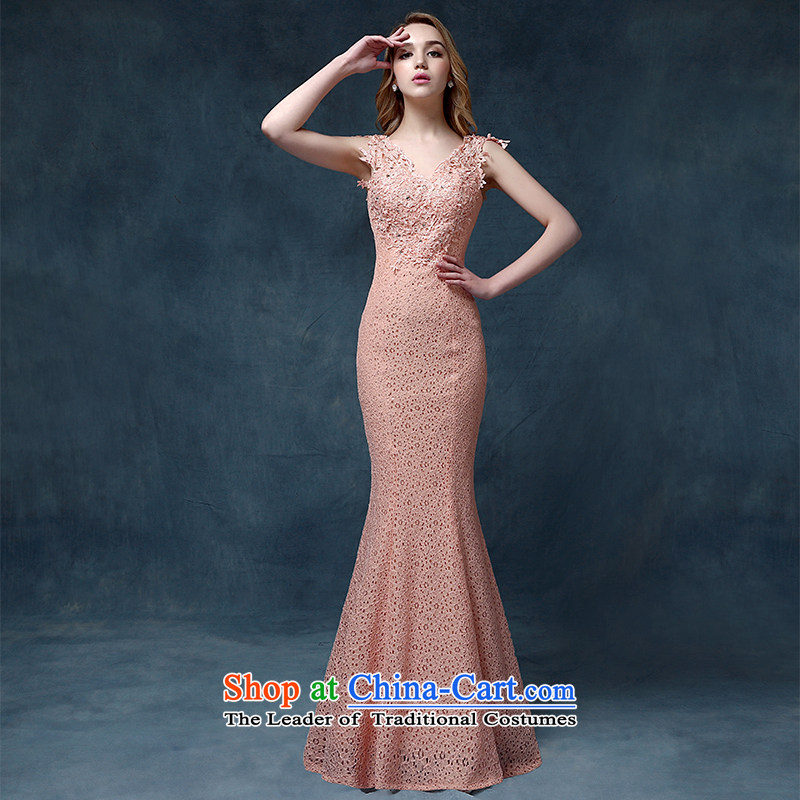 According to Lin Sha 2015 New Sau San crowsfoot dress shoulders bows service long marriages lace banquet evening dresses female pink?XL