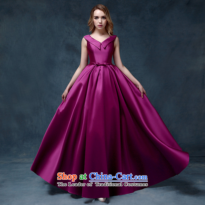 According to Lin Sha 2015 new bride wedding dresses bows satin women serving moderator straps purple long evening dress_ Purple are code