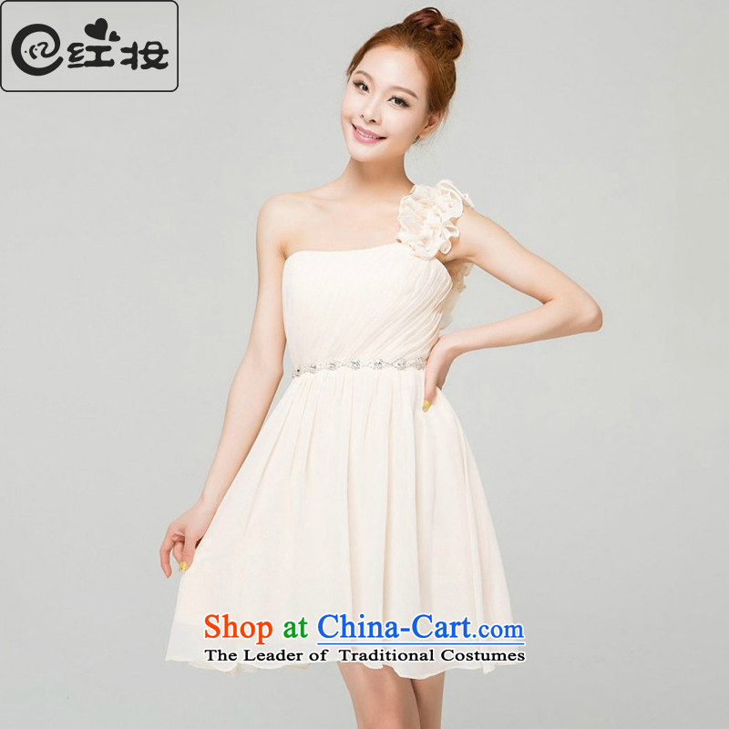 Recalling that hates makeup and stylish bridesmaid Dress Short of small dress sister skirt spring and summer banquet moderator evening dresses female L13768 champagne color?M