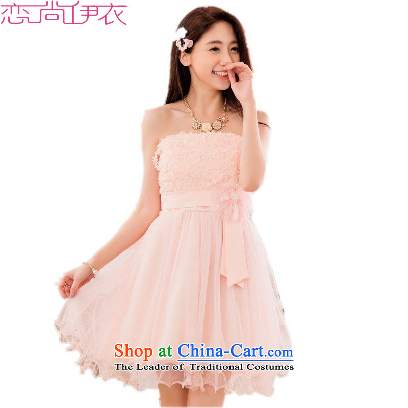 C.o.d. xl small dress for summer 2015 new sweet bon bon Princess Mary Magdalene Chest dinner dress dresses bridesmaid wedding dress skirt pink�approximately 145-165 2XL catty