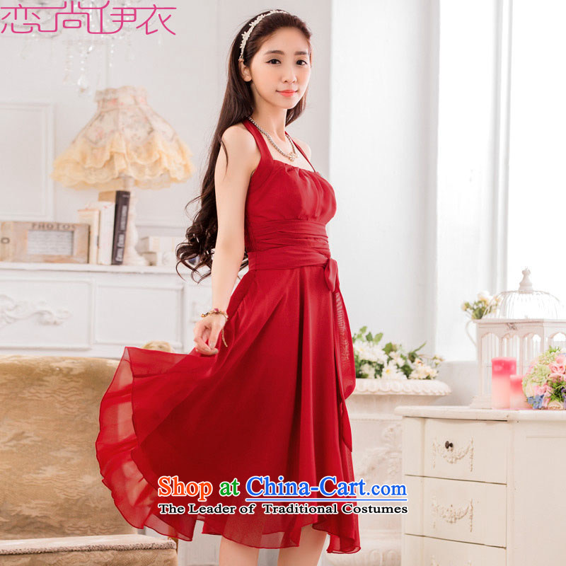 C.o.d. xl evening dresses new summer aristocratic temperament and sexy hang also dresses chiffon evening dresses skirts bride annual bows bridesmaid skirt deep red聽2XL聽about 145-165 catty