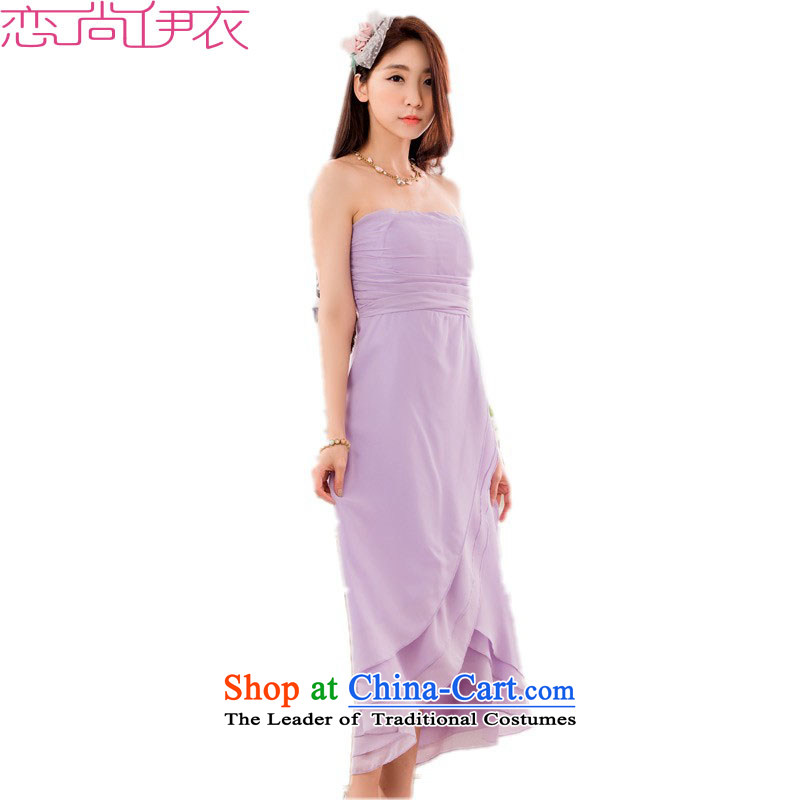 C.o.d. xl elegant evening dress skirt new aristocratic etiquette dovetail long skirt wrapped chest Foutune of red wedding dress sister skirt bows dress purple聽3XL聽approximately 165-185 catty