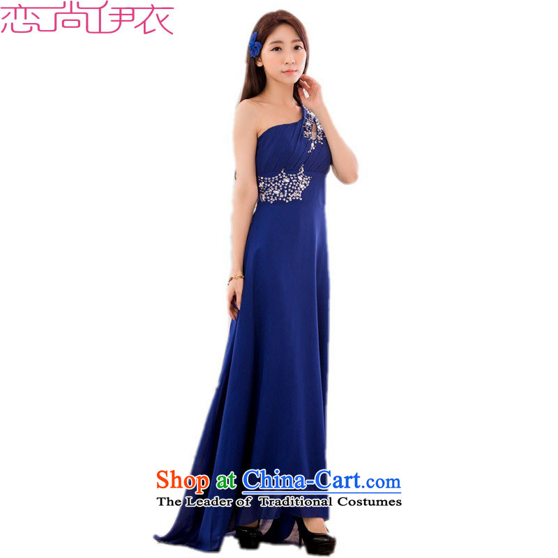 C.o.d. xl stylish long skirt dress new aristocratic goddesses temperament video thin ice woven dresses thick mm Beveled Shoulder hosted a dress blue?3XL?about 165-185 catty