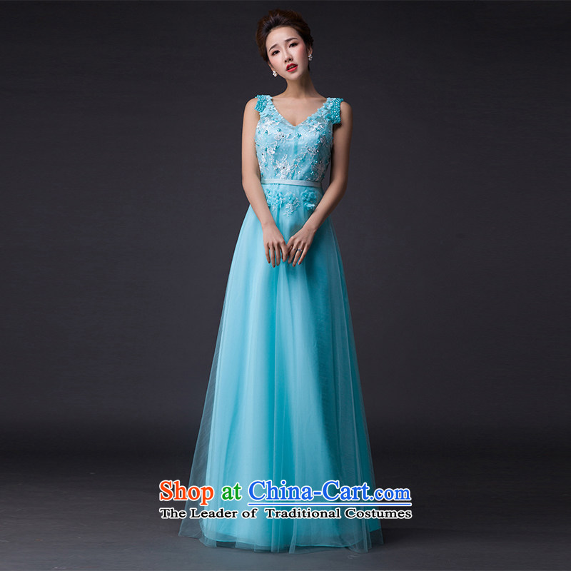Hei Kaki?2015 New banquet dresses and sexy shoulders evening dress deep V-Neck Tie annual meeting was chaired by performing a style of dress skirt P002?L