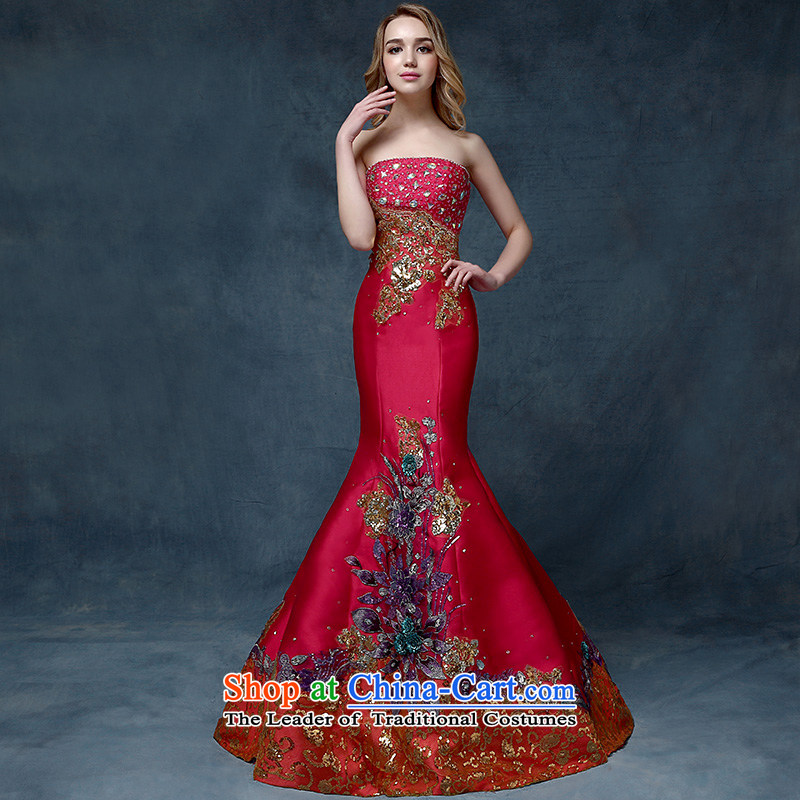 According to Lin Sha wedding dresses 2015 new stylish anointed chest red tail crowsfoot bows Service Bridal evening dresses marriage banquet RED M