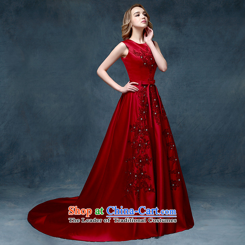 According to Lin sha fashionable 2015 new wine red dress skirt long evening crowsfoot married Sau San evening dresses bride bows wine red are code services