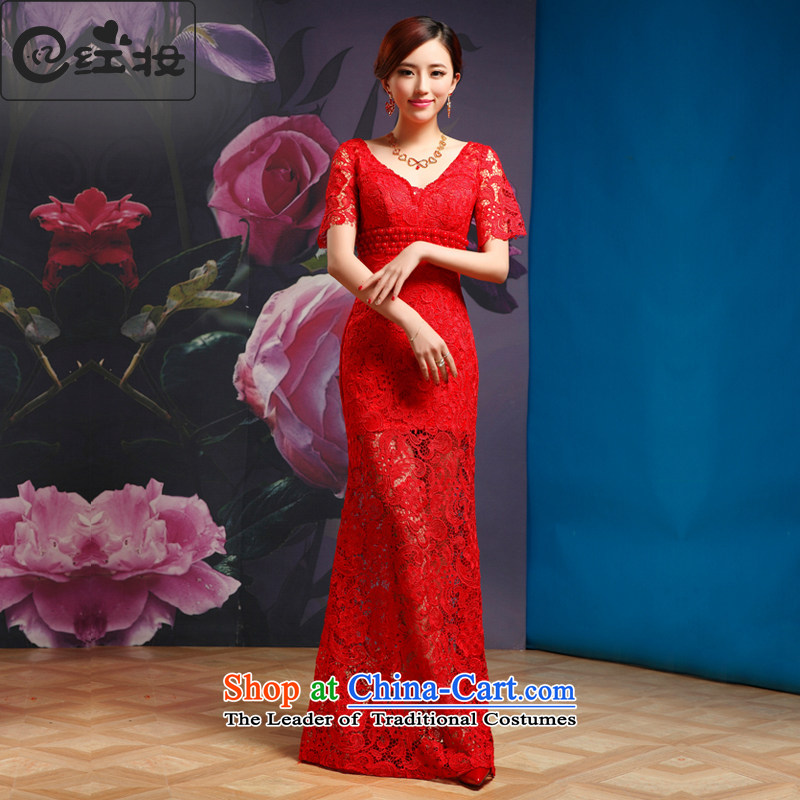 Recalling that hates makeup and bows services red long marriages V-Neck lace short-sleeved evening dress skirt?2015 NEW L13881 RED?S