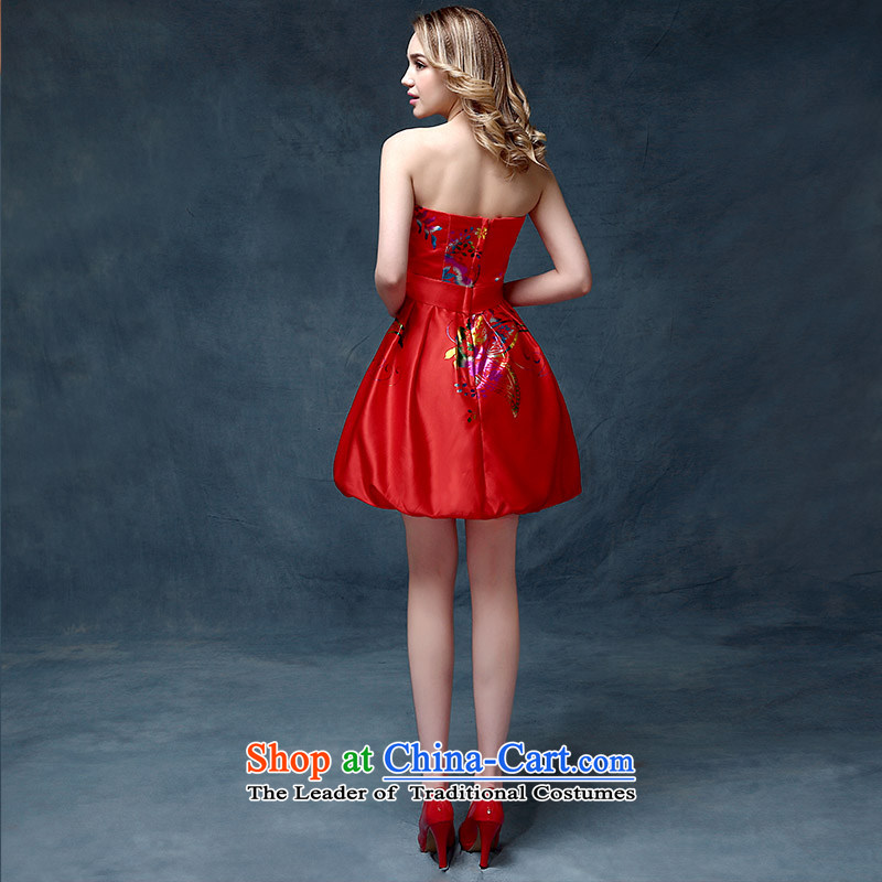 Evening Dress Short, 2015 New wedding dresses red bows Service Bridal Fashion Long Short of betrothal festival bridesmaid services according to Lin Sha red, L, , , , shopping on the Internet