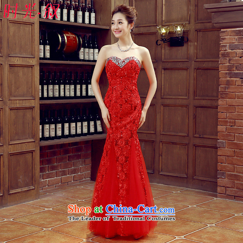 Time the new 2015 Syria of autumn and winter wedding dress bride bows services stylish crowsfoot red lace marriage evening dresses long car models car show red dress?XXL