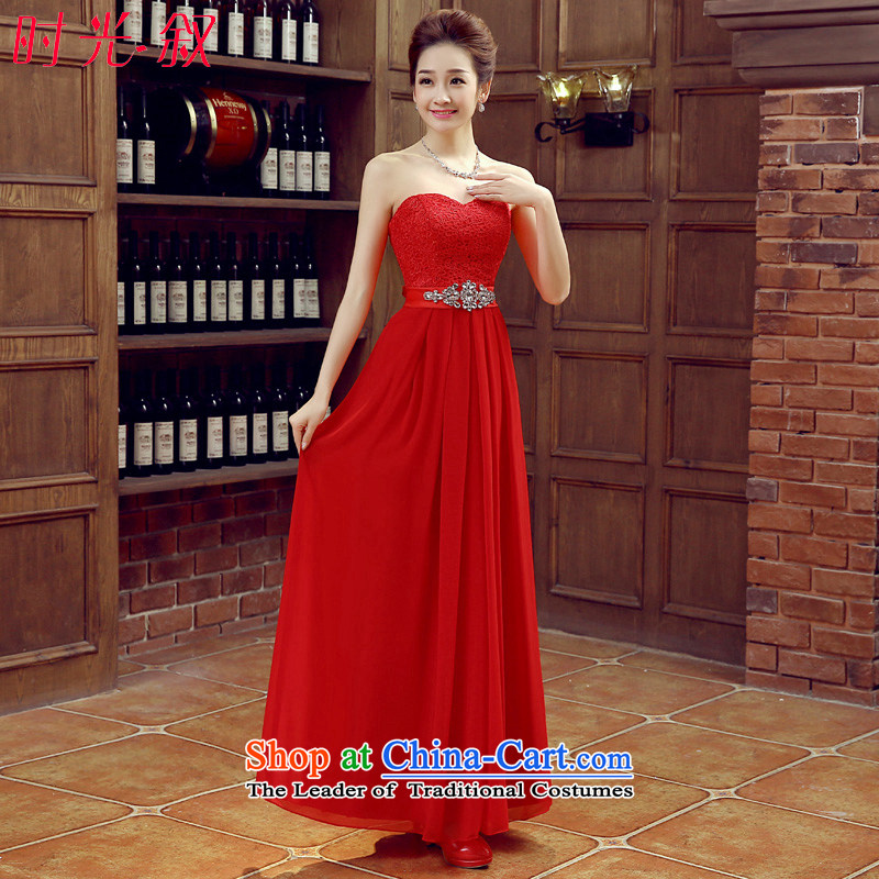 Syria bows service time 2015 new red stylish anointed chest dress brides red wedding dress banquet evening dresses female red�XL