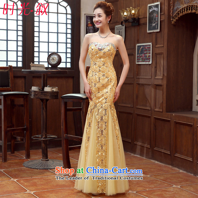 Time the new 2015 Syria of autumn and winter wedding dresses Bridal Services stylish crowsfoot gold bows lace marriage evening dresses Long Vehicle Exhibition car models dress skirt gold聽XXL