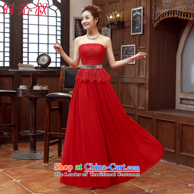 Time of?autumn and winter 2015 Syria new the new Korean anointed chest lace Sau San video thin bride wedding dress red tie dinner dress long red?XXL