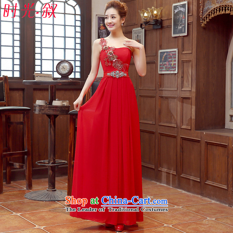 Time Service bridal dresses Syria bows 2015 autumn and winter new wedding dress red single shoulder length of wedding banquet evening dresses performances dress red XXL