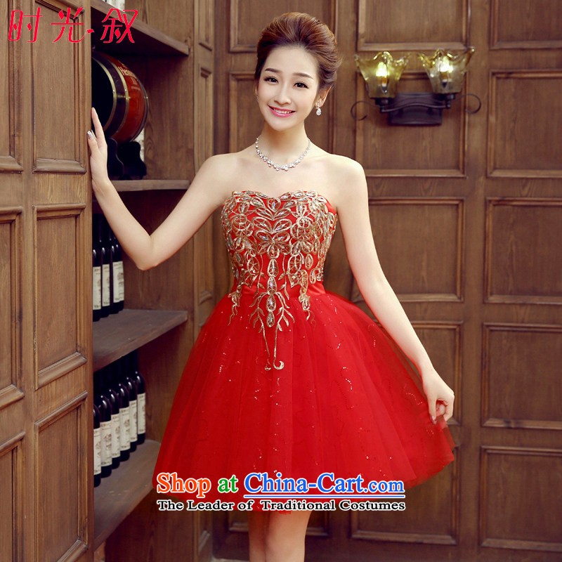 Time of Syria marriages short bows services 2015 autumn and winter, Korean lace wiping the chest small dress was chaired by red dress Vehicle Exhibition dress red�S