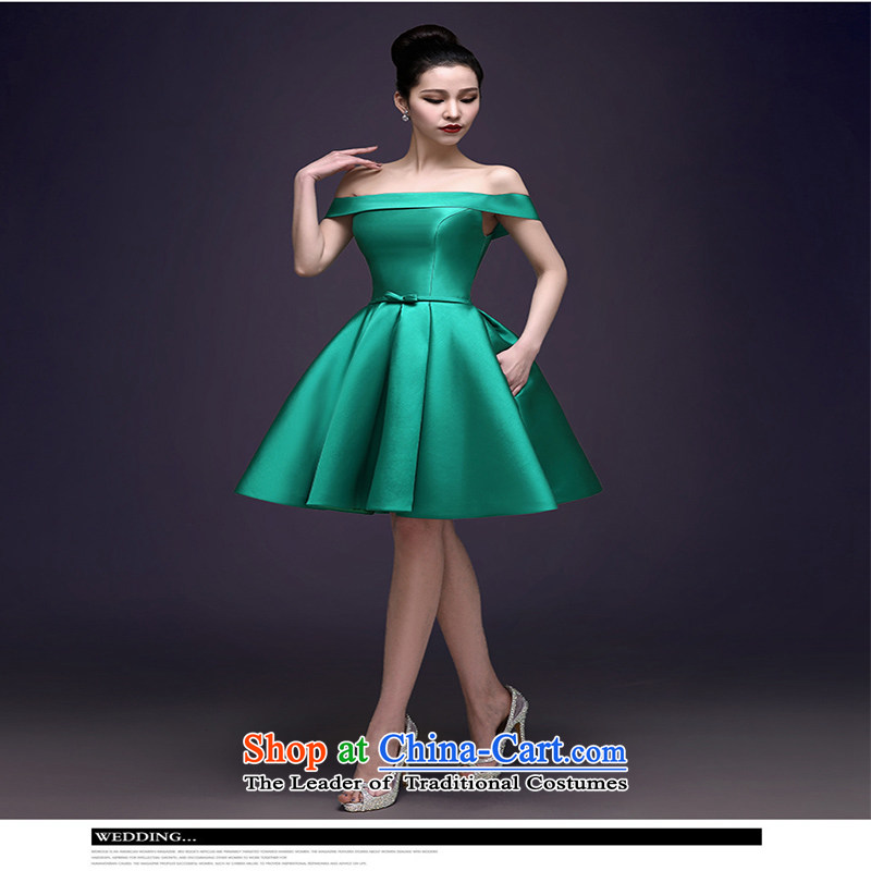2015 Spring/Summer new green dress a stylish upmarket field shoulder banquet dresses gathering Dress Short of female green?XXL
