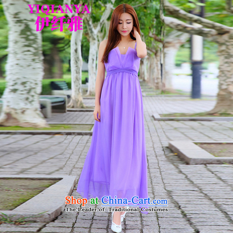 The former Yugoslavia,�2015 new dresses and dresses retro gliding temperament goddess long skirt 5011b load fairies purple�L