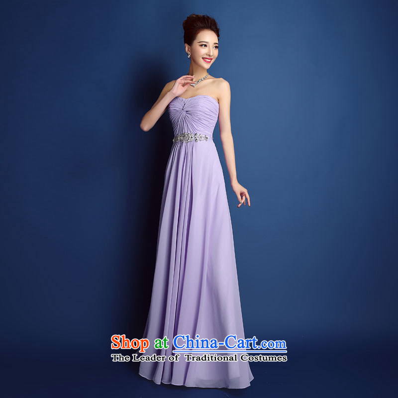 In spring and summer bridesmaid services 2015 new wedding dress bows service long bridesmaid mission sister annual banquet dress skirt will light purple聽XL