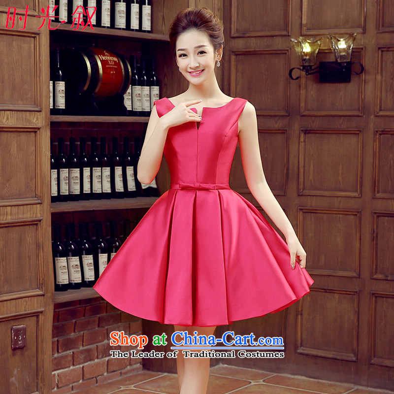 Syria banquet dress time 2015 autumn and winter new 2 short of Korean shoulder satin dress bridal dresses small bows of red uniform of marriage in the red?XXL