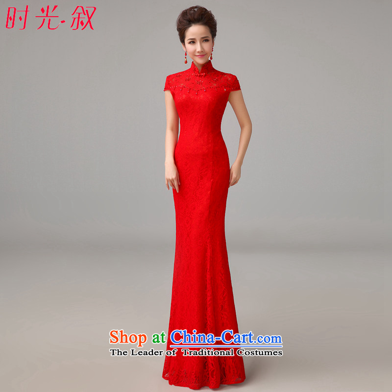 The Syrian Arab Republic�2015 autumn and winter time new wedding dresses marriages red bows to lace long stylish evening female crowsfoot cheongsam red�S