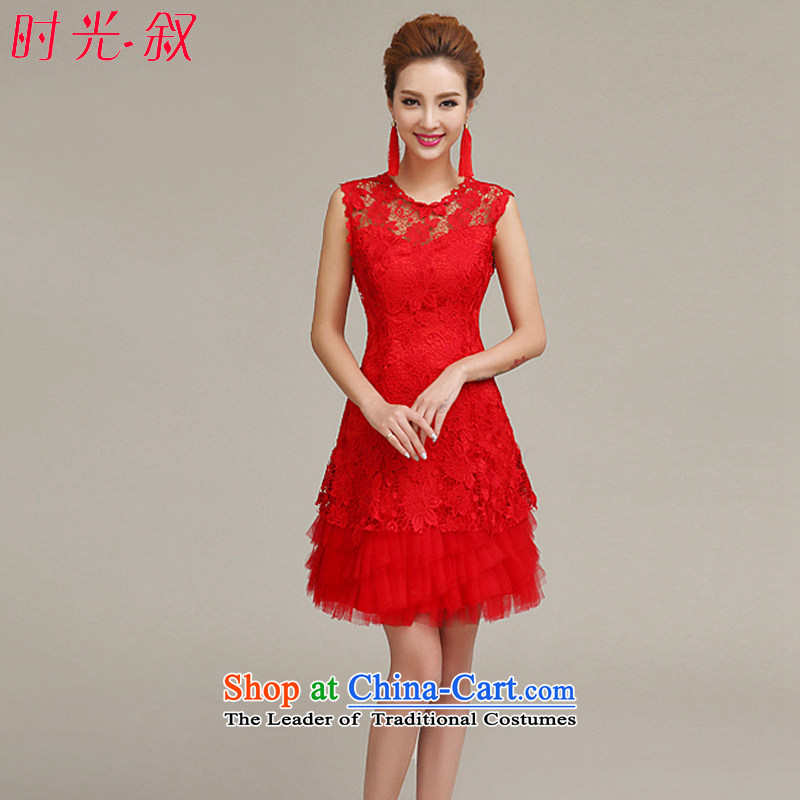 Time Syrian evening dresses 2015 new Korean Red short, banquet of autumn and winter clothing marriages and stylish bows bridesmaid female red XL