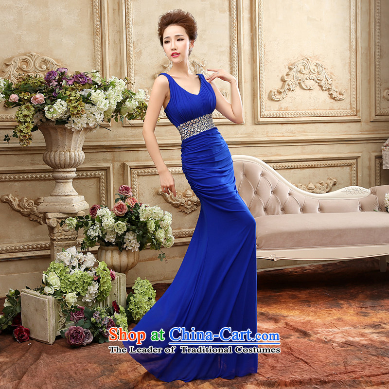 The Word 2015 Service bows shoulder the new autumn and winter to align the blue long Stretch Dress will cocktails dress blue�S