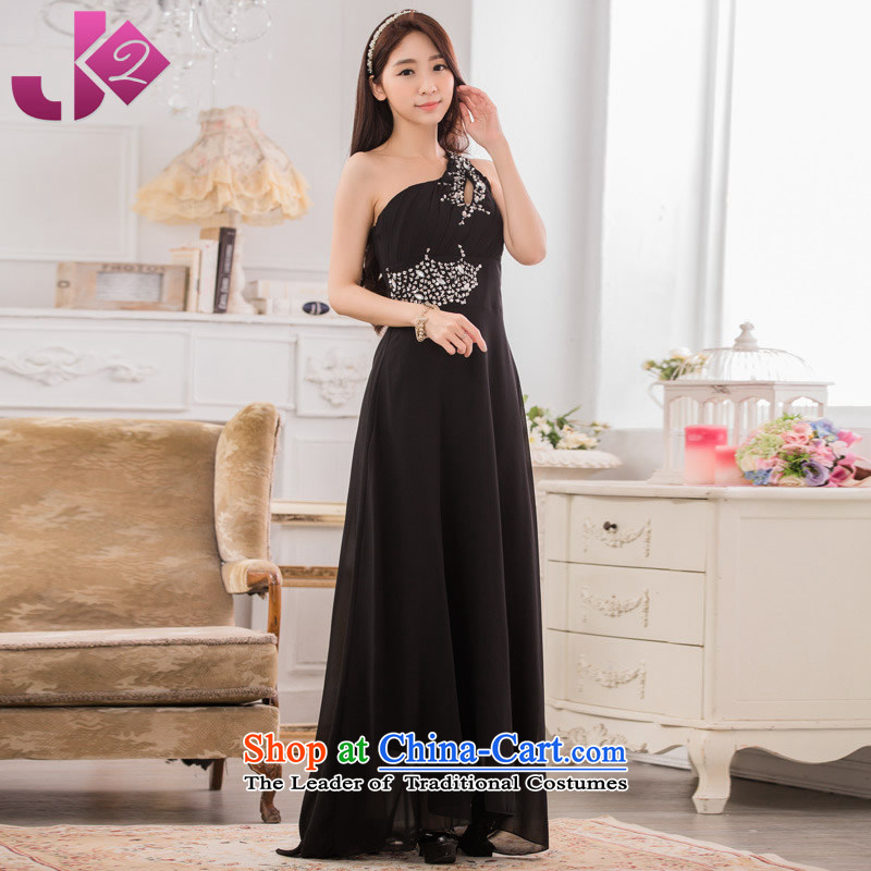 �High-end atmosphere Jk2.yy dinner show moderator frockcoat manually staple pearl shoulder chiffon skirt long skirt large black are code around 922.747 recommended 100