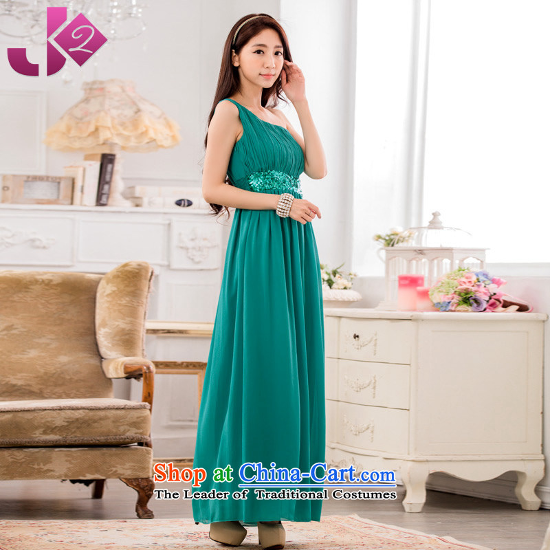 Jk2.yy�elegance shoulder foutune chiffon long skirt XL light slice long evening dresses costumes green�2XL recommendations about 155