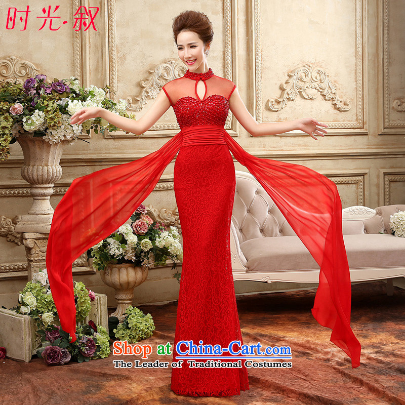 Time the new Syrian) 2015 autumn and winter bride bows and sexy dress uniform long Sau San banquet will Vehicle Exhibition will red�XL