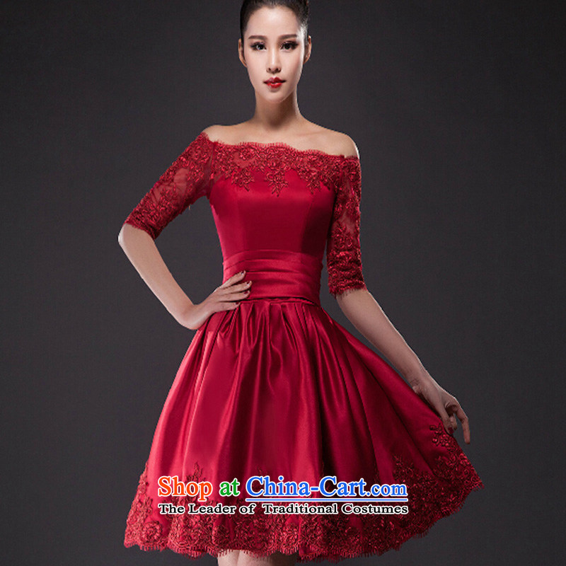 The new word in the shoulder of the Dress Short-sleeved marriages short, banquet wine red dress pregnant women serving deep red bows聽XL