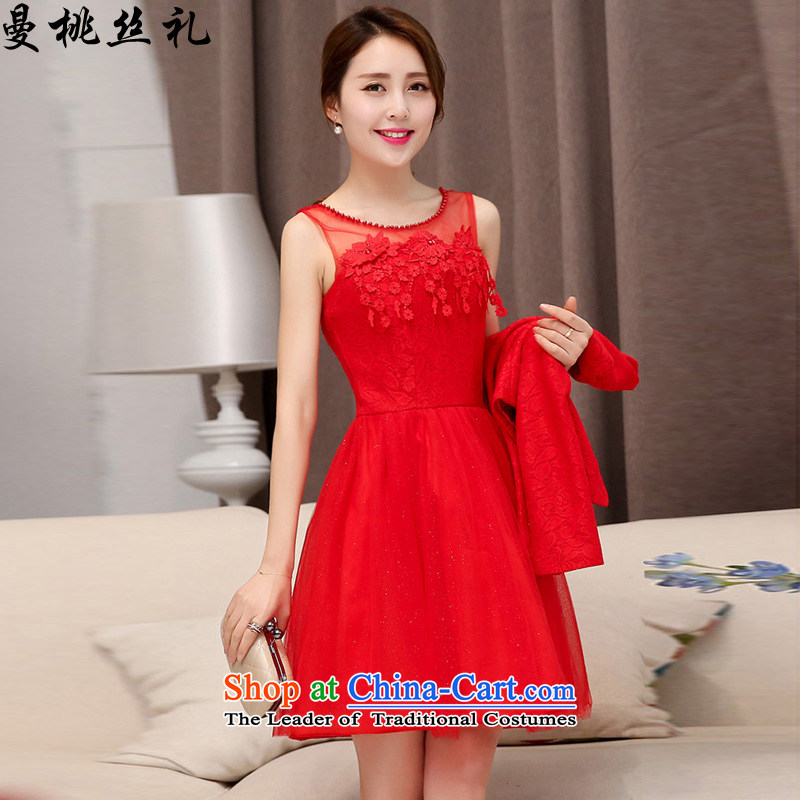Cayman commercial population ceremony wedding dress women 2015 Summer new Korean fashion Sau San temperament two kits bride dress back door bows bridesmaids two kits dresses RED聽M