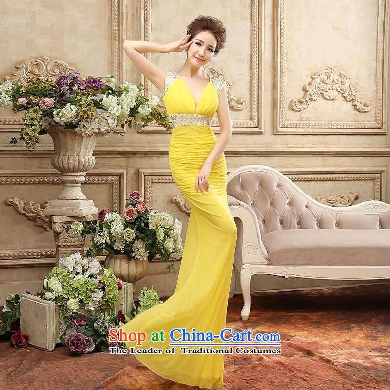 Time Syria of?autumn and winter 2015 new dresses marriage dress banquet crowsfoot bows moderator performances and sexy evening dresses cars and car show evening Yellow?XL