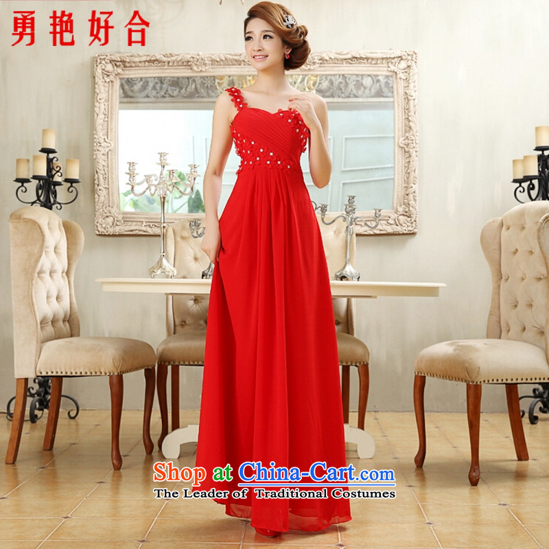 Yong-yeon and 2015 New marriages of evening dresses bows services long red will shoulder bows dress red long�M