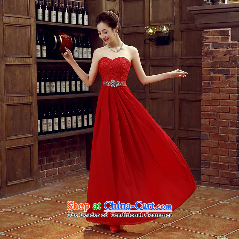 Large red bride bridesmaid wedding dress marriage bows services wedding night wear long bride with the new�s 2015