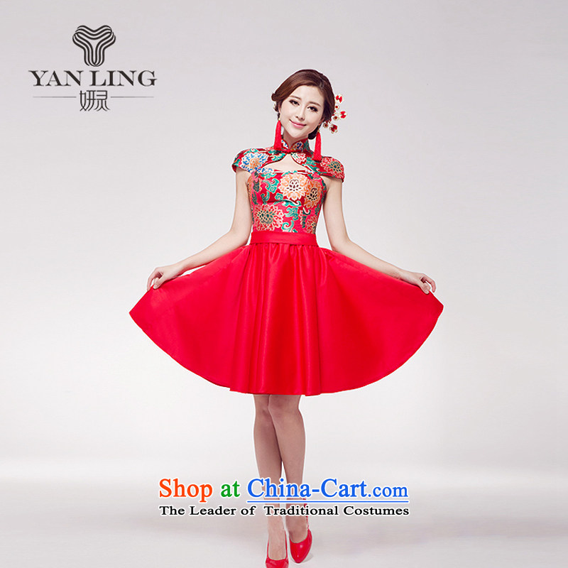 2015 new marriage bows services small red dress Chinese improved stylish Princess Bride short skirts female?M