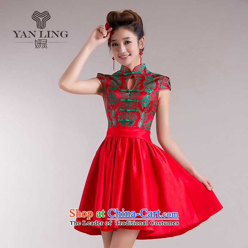 2015�New Dress Short of Chinese Wind red bows to the Summer load the lift mast will qipao 72 L