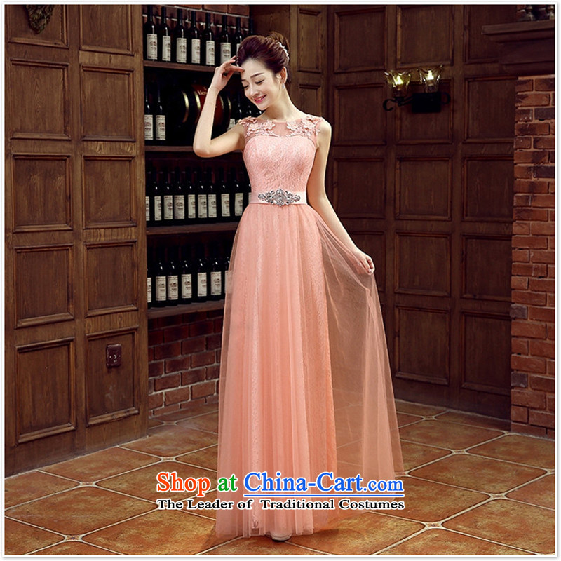 Pink bridal bridesmaid wedding dresses marriage shoulders bows services wedding night wear long shoulders 2015 new rose?s