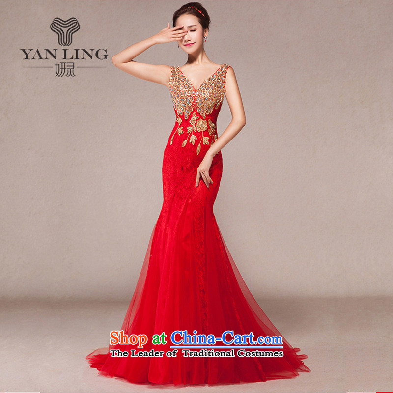 Evening dress new bows services 2015 annual spring dress shoulders Sau San crowsfoot marriages long gown�XL