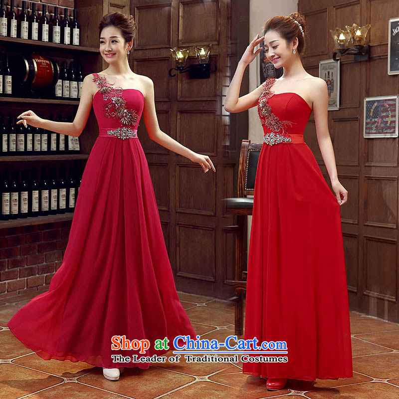 Red bride bridesmaid marriage evening dresses performances bows services shoulder evening long bride with new 2015 deep red?XXL