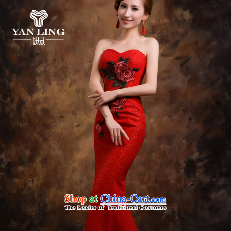 Red wedding dresses Bridal Services dress bows new 2015 crowsfoot wedding betrothal wedding dress female聽XL