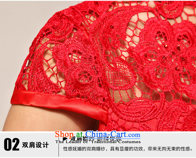 2015 new wedding dress luxury sexy qipao slotted shoulder red lace bride wedding dress LF133 L picture, prices, brand platters! The elections are supplied in the national character of distribution, so action, buy now enjoy more preferential! As soon as possible.