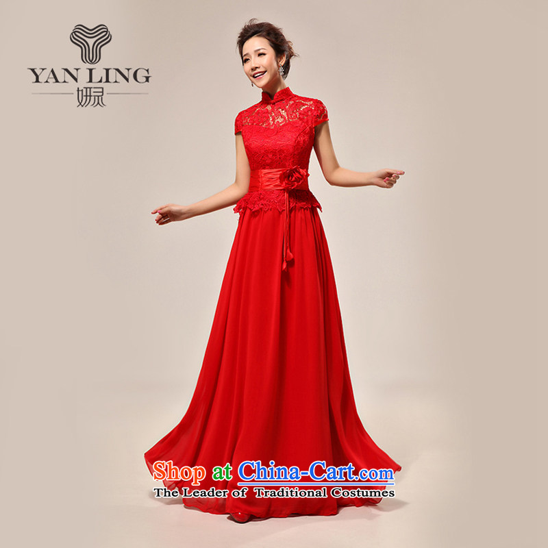 2015 new wedding dress luxury sexy qipao slotted shoulder red lace bride wedding dress LF133 L