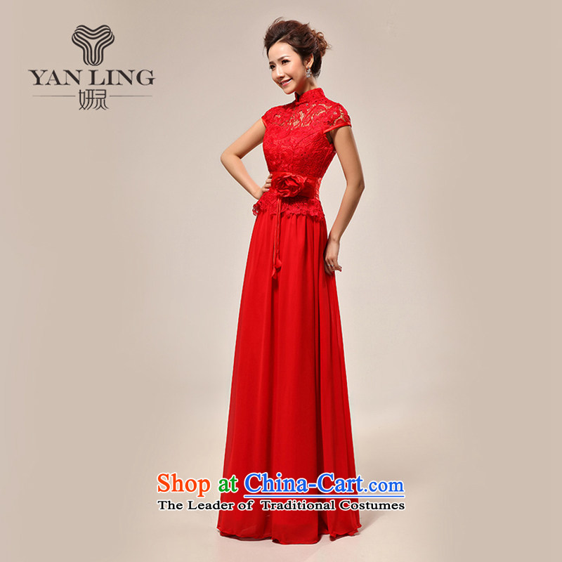 2015 new wedding dress luxury sexy qipao slotted shoulder red lace bride LF133 wedding dress, L, Charlene Choi spirit has been pressed shopping on the Internet