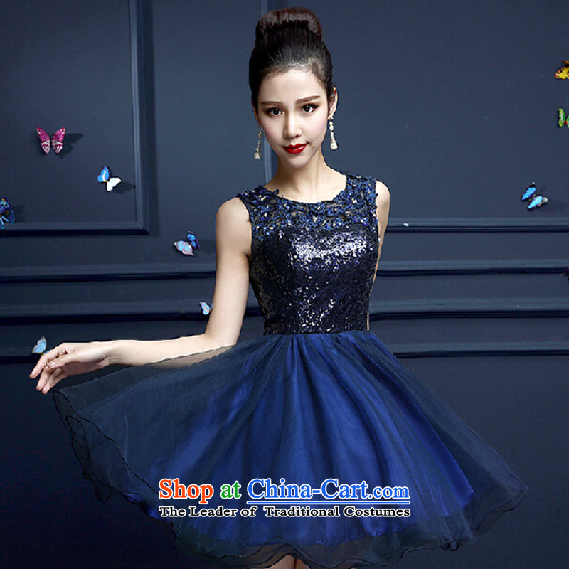 Ms. evening dresses 2015 new summer Korean shoulders bon bon skirt small dress bridesmaid dress moderator short spring blue?S