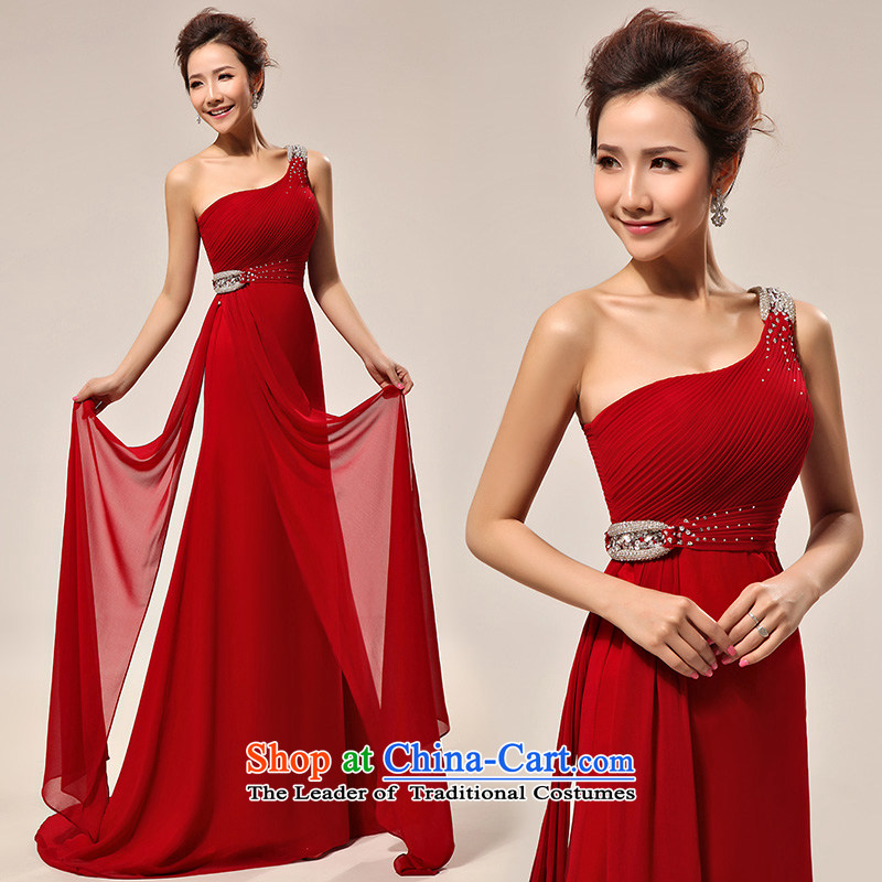 2015 new stylish shoulder drill on a small red tail bows services evening dresses wedding dresses LF132 XXL