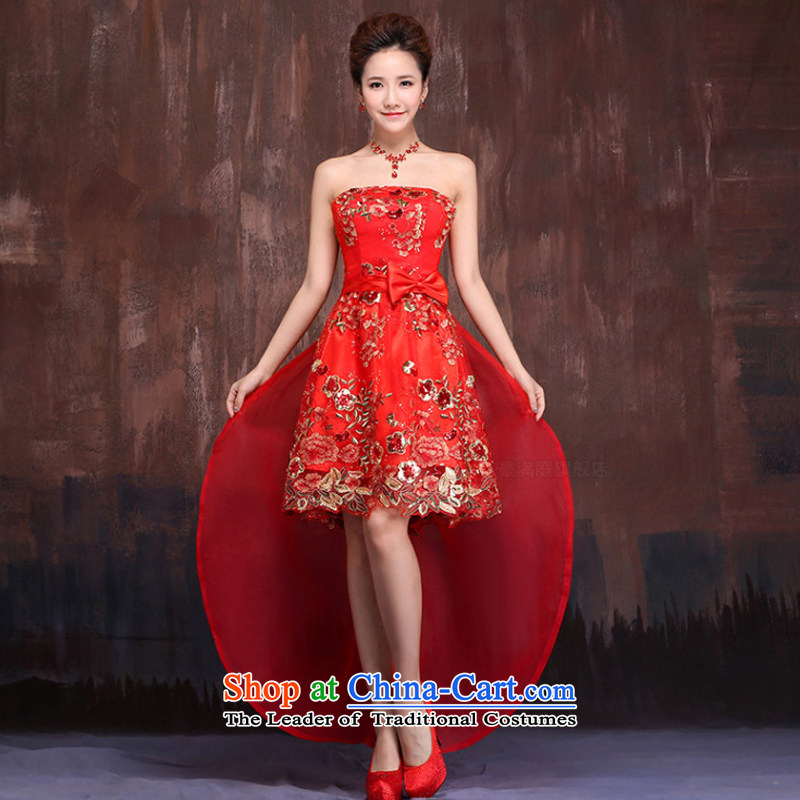 Charlene Choi Ling 2015 new front stub long after the strap dress qipao gown red brides marriage short_ bows services?XXL