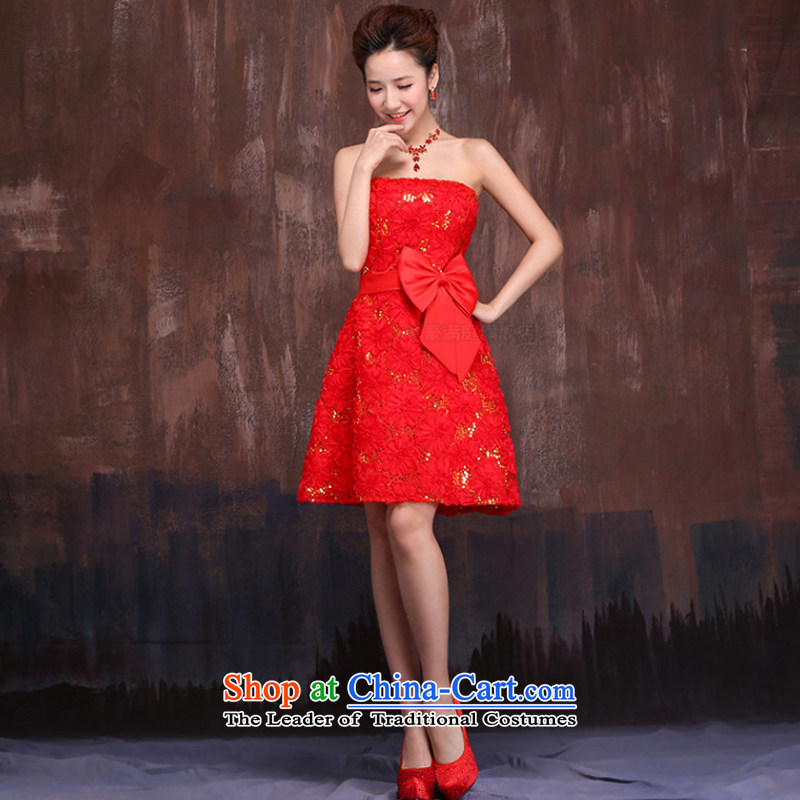 Wedding dresses in spring and autumn 2015 new marriages red short) bows services embroidery lace strap dress?XXL